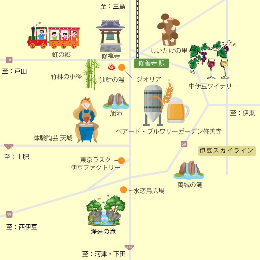 修善寺・天城湯ヶ島・中伊豆観光マップ
