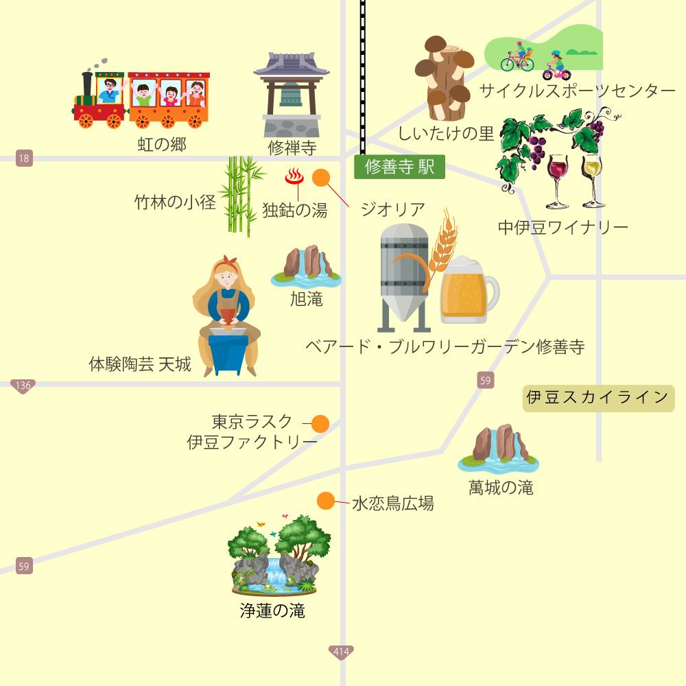 中伊豆・天城湯ヶ島・修善寺観光マップ