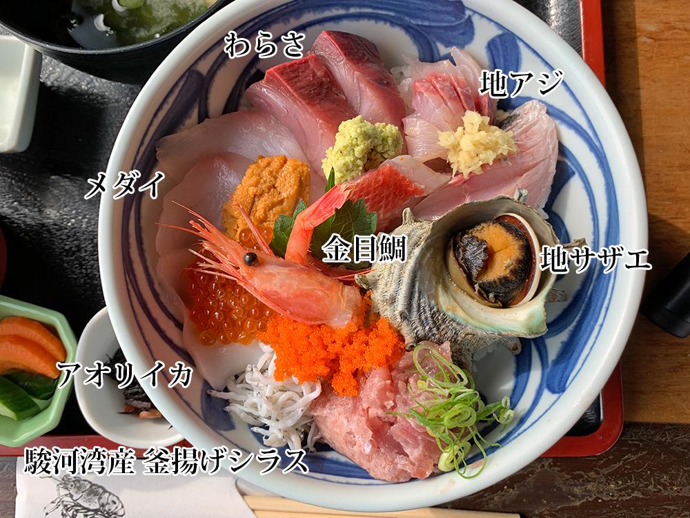 ゑび満 伊豆下田・白浜 海鮮丼 漁心丼 ネタの名称