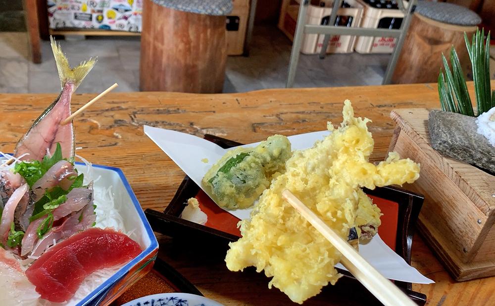 磯一 下田 海鮮料理 おまかせ定食のサザエのメギスの天ぷら